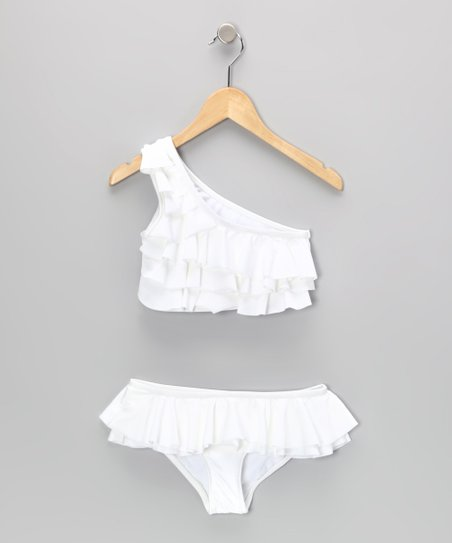 White Tiered Ruffle Asymmetrical Bikini
