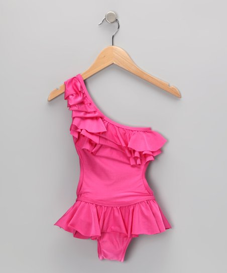 Fuchsia Asymmetrical Tiered Ruffle Skirted One-Piece - Girls