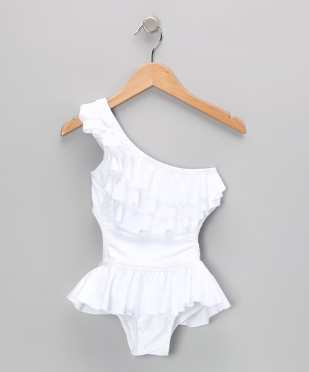 White Tiered Ruffle Asymmetrical One-Piece