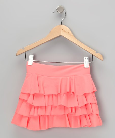 Coral Ruffle Swim Skirt - Girls