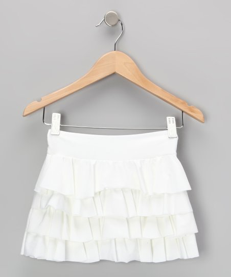 White Ruffle Swim Skirt - Girls