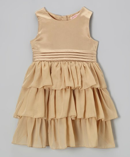 Gold Chiffon Tiered Ruffle Dress - Toddler & Girls