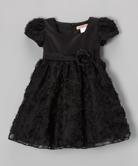 Black Frilled Rosette Dress - Toddler & Girls