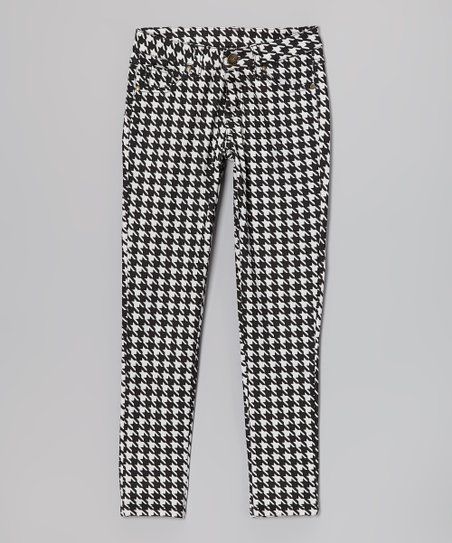 Black & White Houndstooth Skinny Jeans - Toddler & Girls
