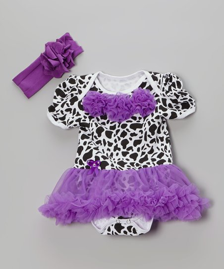 Purple Leopard Skirted Bodysuit & Headband - Infant