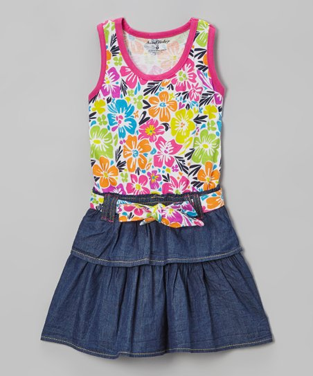 Pink & Blue Floral Belted Denim Dress - Infant, Toddler & Girls