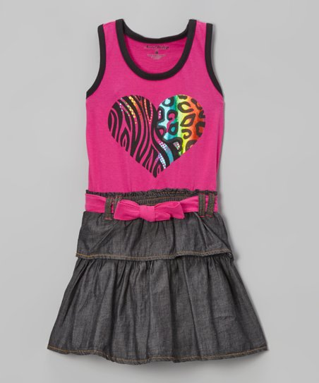 Pink Heart Ruffle Belted Denim Dress - Infant, Toddler & Girls