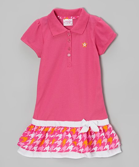 Pink Houndstooth Drop-Waist Polo Dress - Toddler & Girls