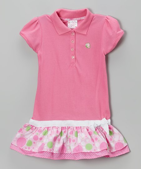 Pink Polka Dot Drop-Waist Polo Dress - Toddler & Girls