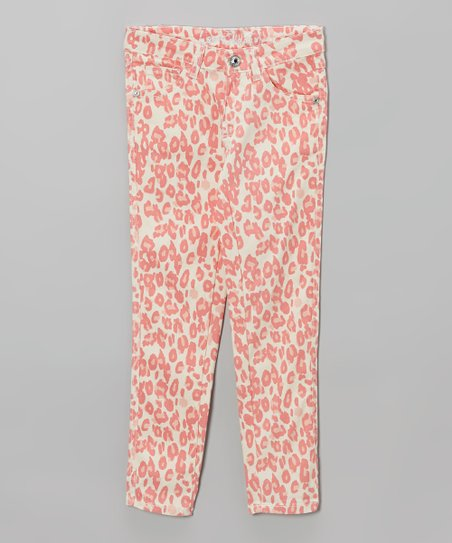 White & Coral Leopard Skinny Jeans - Toddler & Girls