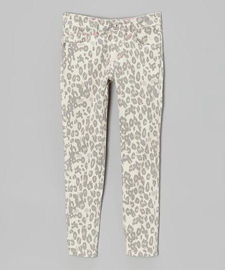 White & Gray Leopard Skinny Jeans - Toddler & Girls