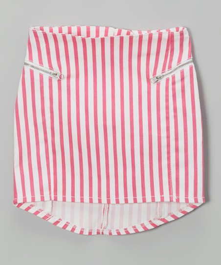 Pink & White Stripe Zipper Skirt - Girls