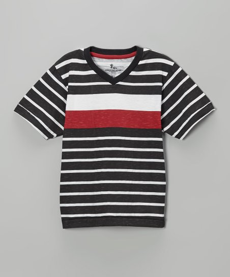 Black & Red Stripe V-Neck Tee - Boys