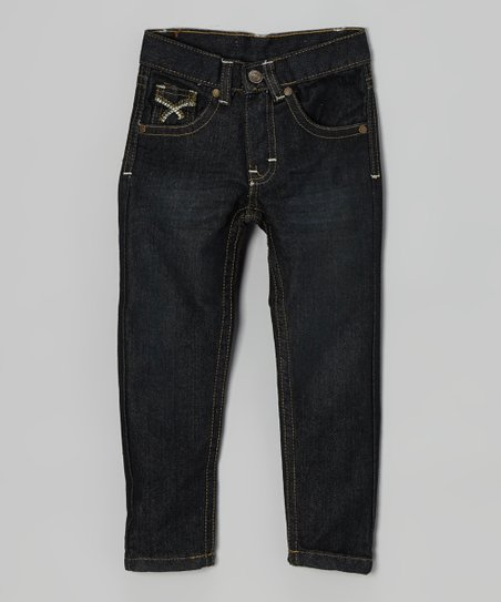 Dark Wash & Brown Embroidered Jeans - Infant, Toddler & Boys