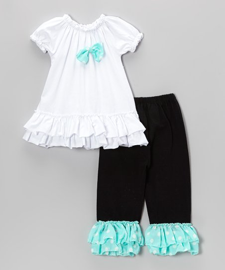 White Ruffle Puff-Sleeve Top & Black Dots Pants - Toddler & Girls