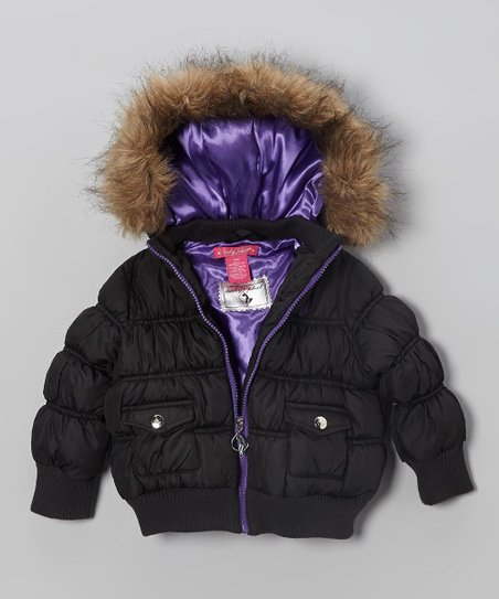 Black Faux Fur Puffer Bomber Jacket - Girls