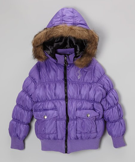 Wild Plum Faux Fur Puffer Bomber Jacket - Toddler & Girls