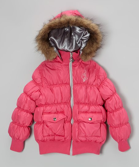 Fuchsia Faux Fur Puffer Bomber Jacket - Toddler & Girls