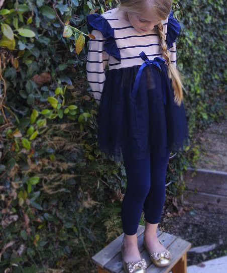 Navy & White Stripe Olivia Tutu Dress - Girls
