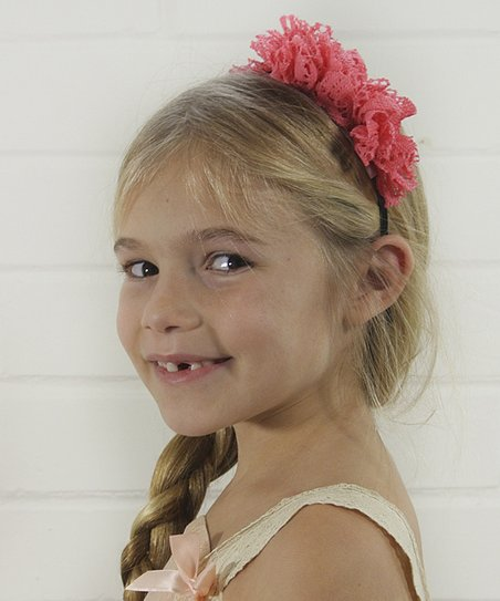 Coral Lace Bow Headband