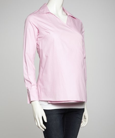 Pink Maternity Wrap Top - Women