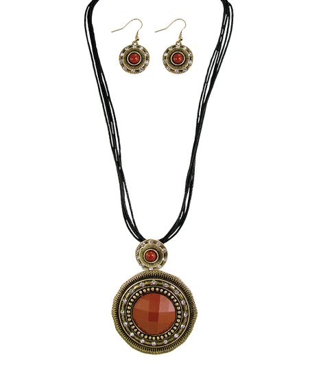 Gold & Red Orange Faceted Patina Pendant Necklace & Drop Earrings