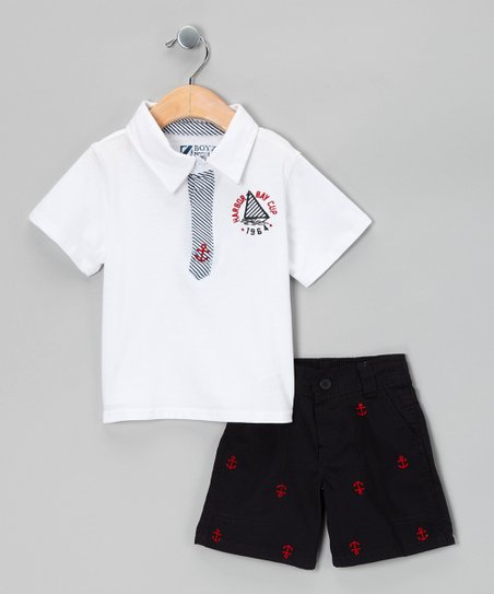 White Anchor Polo &amp; Shorts - Infant