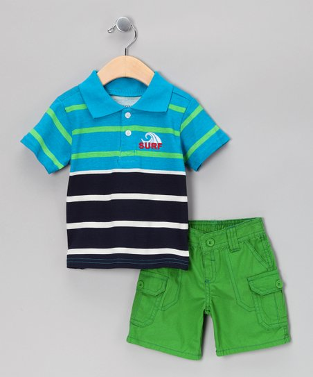 Aqua & Black Stripe Polo & Shorts - Toddler