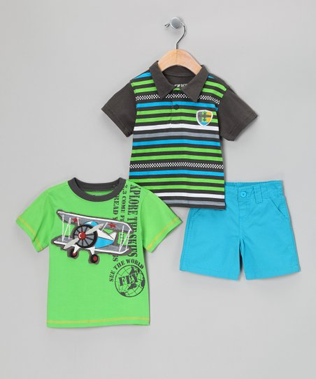 Green Stripe Polo Set - Infant