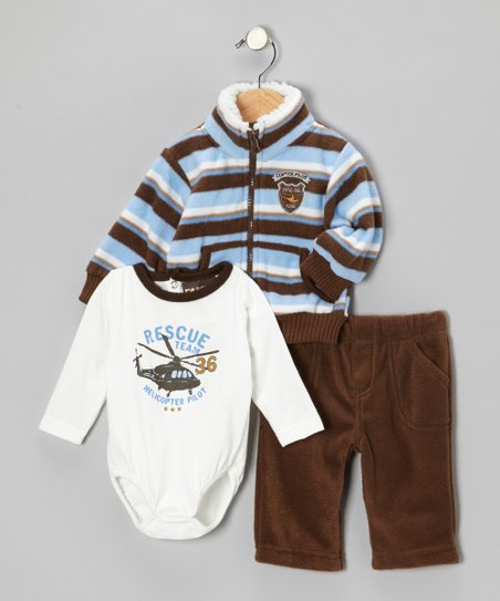 Blue & Brown Helicopter Jacket Set - Infant