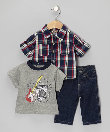 Gray & Blue Guitar Tee Set - Infant