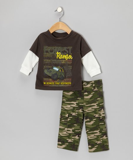 Brown 'Ranger' Layered Top & Camo Pants - Infant