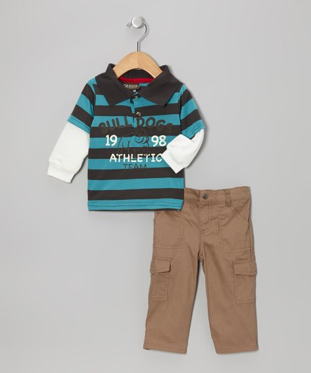 Blue Stripe Layered Polo & Brown Pants - Infant