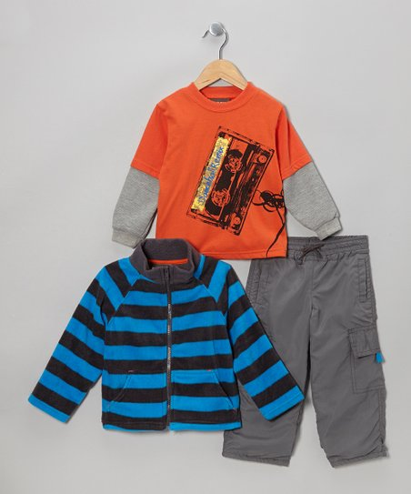 Orange & Blue Cassette Jacket Set - Toddler