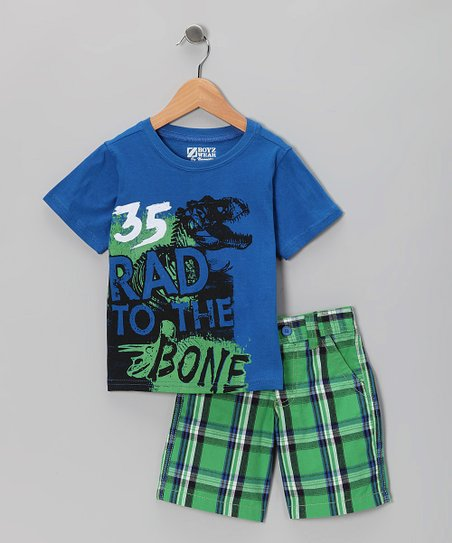 Blue 'Rad To the Bone' Tee & Shorts - Toddler