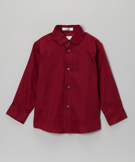 Burgundy Sateen Button-Up - Boys