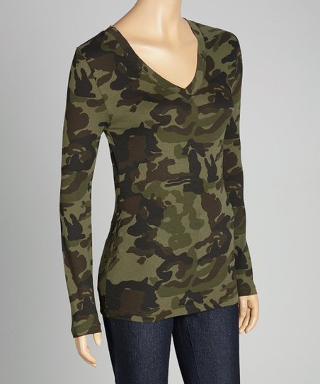 Dark Olive Camo V-Neck Long-Sleeve Top