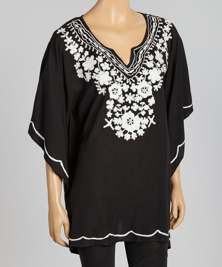 Black Crochet Neck Cape-Sleeve Tunic - Women