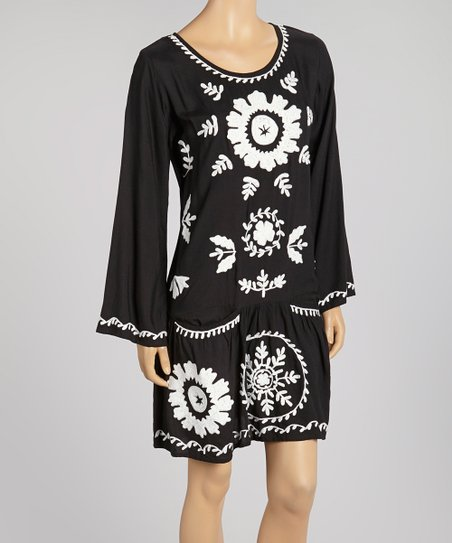 Black Floral Contrast Scoop Neck Dress - Women