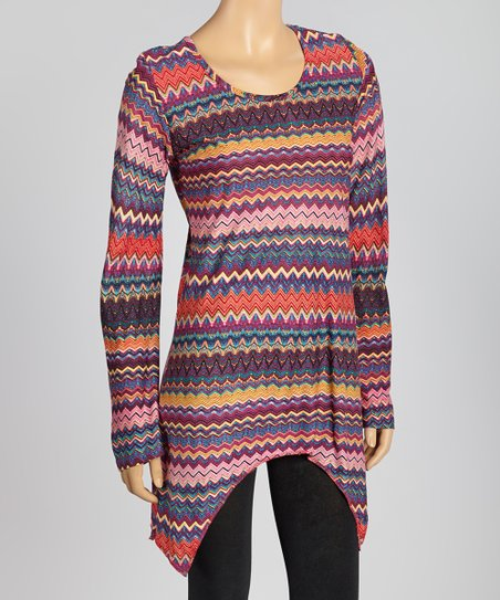 Pink Zigzag Sidetail Tunic - Women