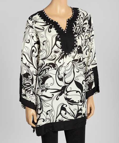 Black & White Abstract Floral Tunic - Women
