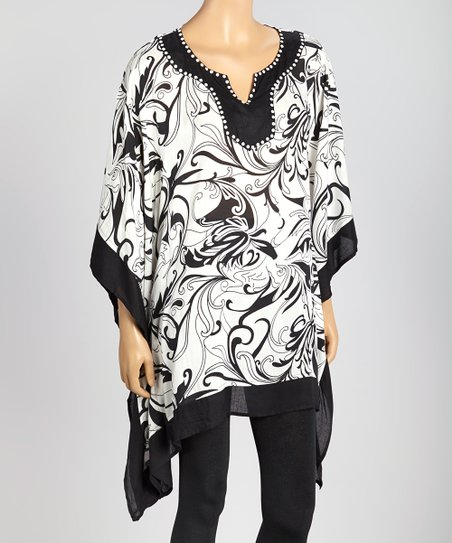 Black & White Abstract Floral Cape-Sleeve Tunic - Women