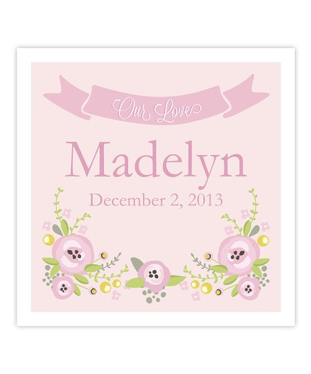 Pink Floral Personalized Birthday Print