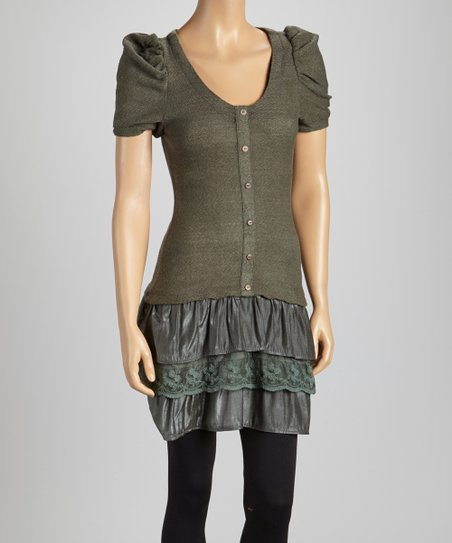 Gray Tiered Lace Ruffle Drop-Waist Tunic