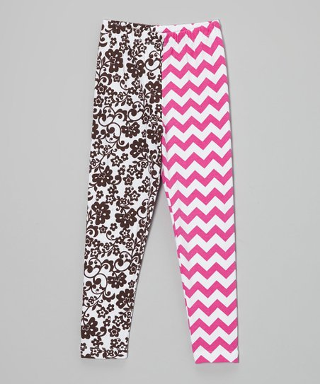Fuchsia & Cocoa Zigzag Floral Leggings - Infant, Toddler & Girls