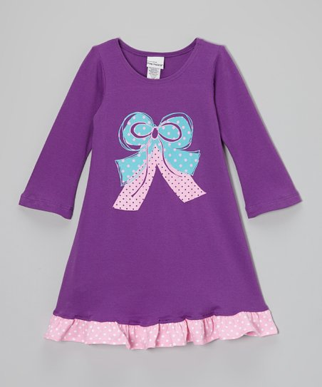 Plum Bow Swing Dress - Infant, Toddler & Girls