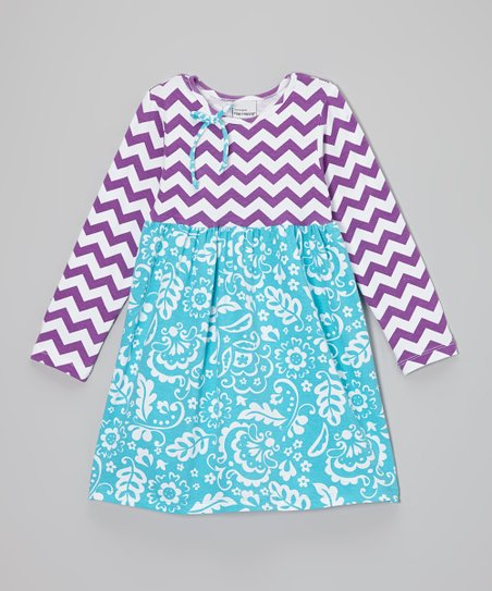Plum & Blue Zigzag Floral Dress - Infant, Toddler & Girls
