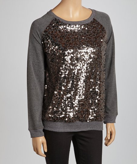 Gray Sequin Raglan Sweatshirt