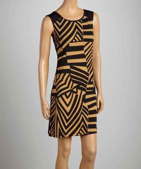 Black & Taupe Abstract Dress