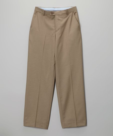 Taupe Herringbone Solid Pants - Boys